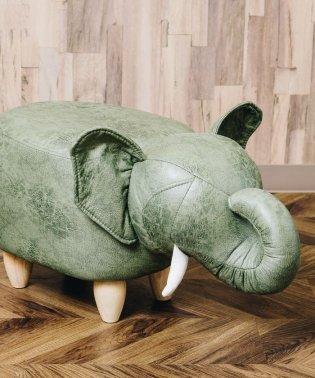 アニマルモチーフのスツール Elephant エレファント カーキ