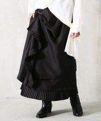 『kOhAKU裾プリーツドレープデザインラップスカート』