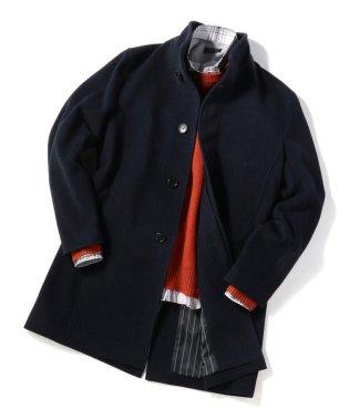 ヘリンボーン ウールスタンドカラーコート