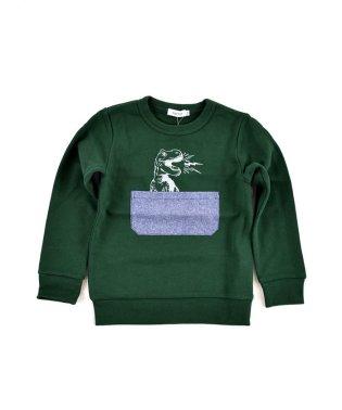 裏毛ダンガリーポケット恐竜プリントトレーナー