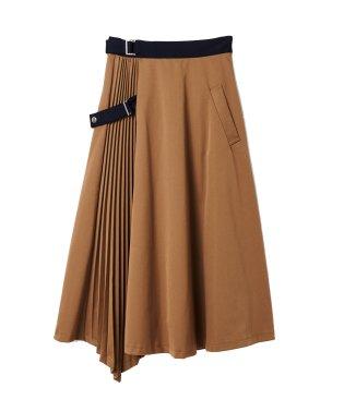 プリーツ配色イレヘムスカート