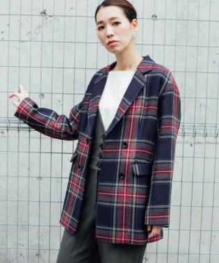 【ROSSO】チェックジャケットコート
