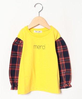 チェック袖ロゴTシャツ