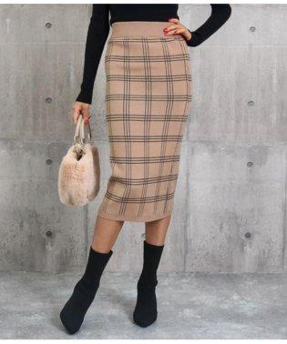 チェックニットタイトスカート