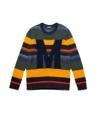 編み地変化ボーダーニット・セーター