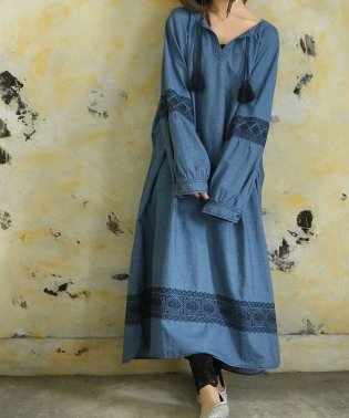 『somari刺繍×デニムロングワンピース』