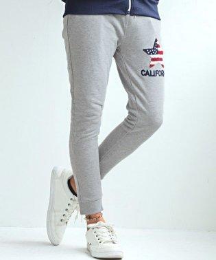 サガラ刺繍ジョガーパンツ/ジョガーパンツ メンズ 刺繍 CALIFORNIA ロゴ 星条旗柄