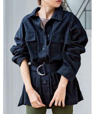 [アウター]ベルト付きツイルカバーオール[190657]シャツとしても羽織としても◎
