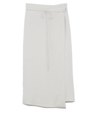 ラップ風台形サテンスカート