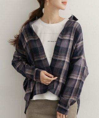 ウールコットンチェックワイドシャツ