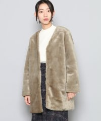 【SENSEOFPLACE】ノーカラーファーコート