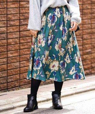 【大きいサイズ】ファブリックフラワーPTスカート
