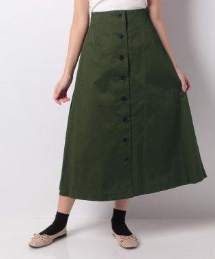 【FbyROSSO】コットンストレッチ前ボタンスカート