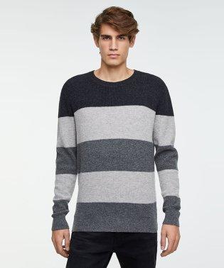 ウールワッフル編みカラーブロックラウンドネックニット・セーター