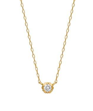 K18 フィオレットセッティング 一粒ダイヤモンドネックレス 0.07ct(YG)