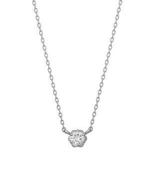フィオレットセッティング一粒ダイヤモンドネックレス0. 07ct(WG)