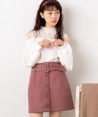 WEGO/ベルト付きフェイクウールミニスカート