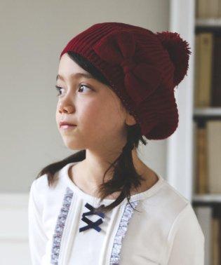 リボン付き畦編みベレー帽