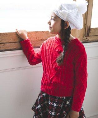 ケーブル編みモールニットセーター