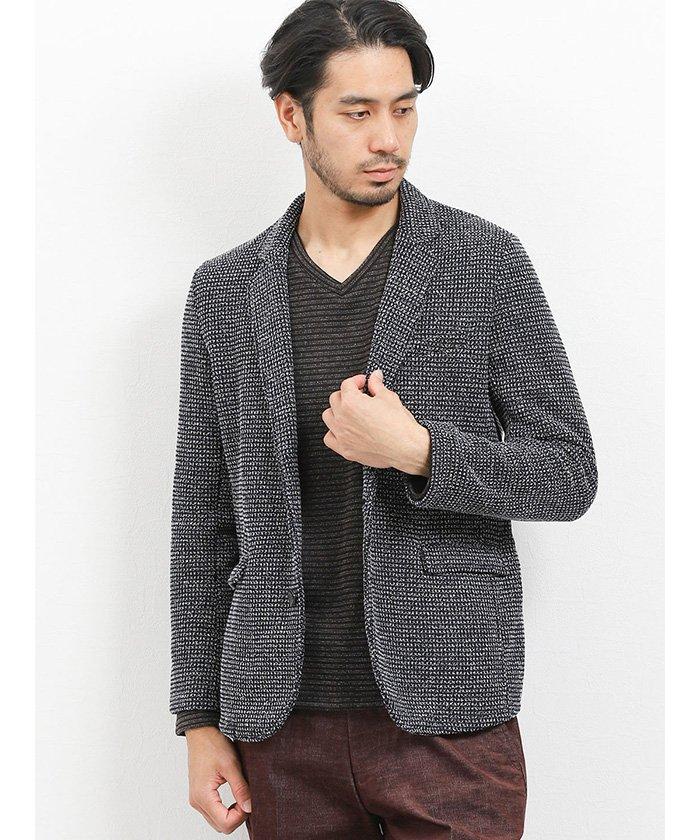 (TAKA-Q/タカキュー)裏起毛ミックスワッフル カットジャケット/メンズ ネイビー