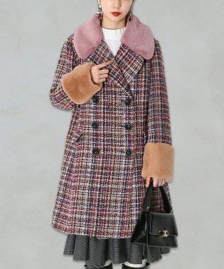 『somari襟ファー配色ツイードコート』