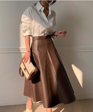 NANING9(ナンニング)レザーAラインスカート