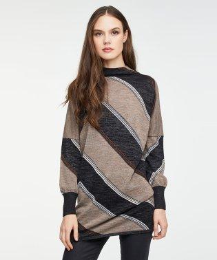 ウールジオメトリックチュニックニット・セーター