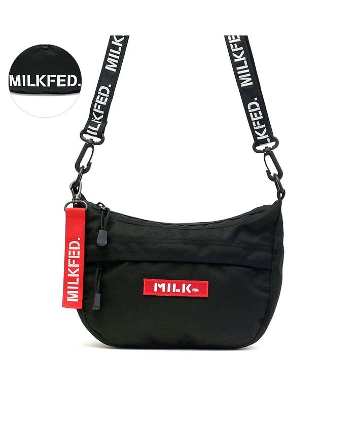 (MILKFED./ミルクフェド)ミルクフェド MILKFED. ROUND SHOULDER BAG SMALL ショルダーバッグ ミニショルダー ラウンド ボックスロゴ 03195063/レディース レッド