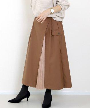 サテンプリーツ使いレイヤードスカート