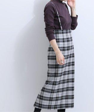 《WEB限定》オーバーチェックショルダーストラップスカート◆