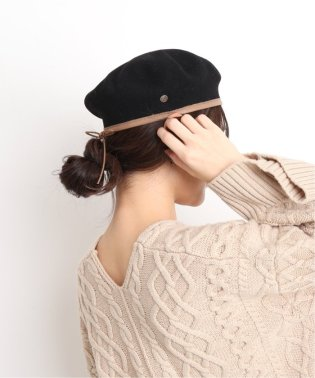 【LAULHERE】 SLOBE別注 パイピングレザーベレー帽