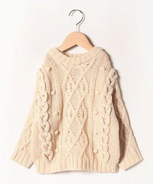 ウォッシャブル ケーブル編みパフコーンつきセーター