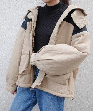 配色ショートフード付モッズコート