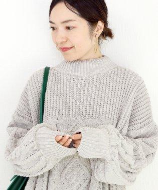 モールヤーンケーブル編みチュニックプルオーバー