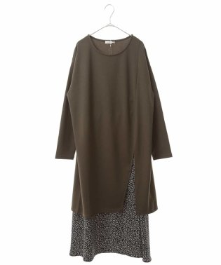 【大きいサイズ】【セット】スリットチュニック&リーフPTスカート