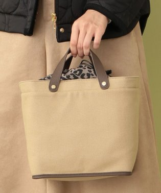 【CACHELLIE】LEATHER HANDLE CANVAS TOTE