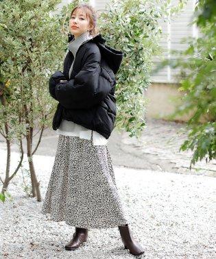 単色レオパード柄ギャザー/スカート