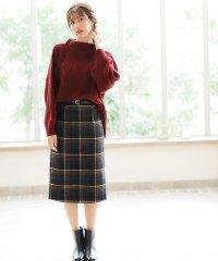 ベルト付チェック柄ナロー/スカート