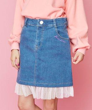 裾チュールデニムスカート