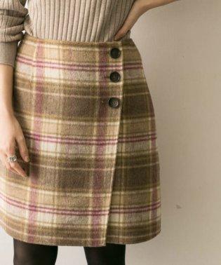 リバーシブルチェック台形スカート