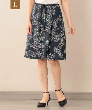 【L】【ウォッシャブル】ラインフラワープリントスカート