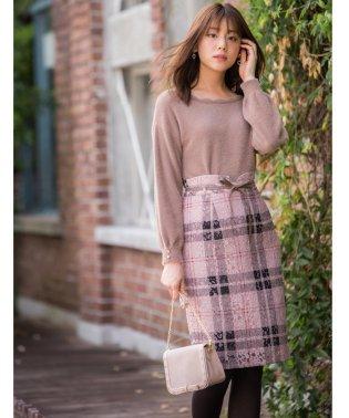 【美人百花11月号掲載】レースチェックタイトスカート
