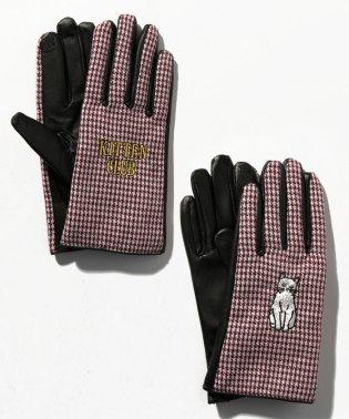 【CASSELINI】スマホ対応/猫×ロゴ刺繍千鳥格子柄手袋