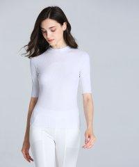シームレスインナー[AIR COOL] ハイネック 五分袖Tシャツ