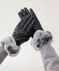 【手袋】シンプルラグジュアリーファー本革グローブ
