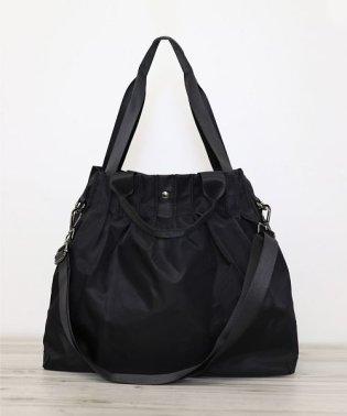 【3WAY】ギャザーしぼりの大容量ナイロントートバッグ
