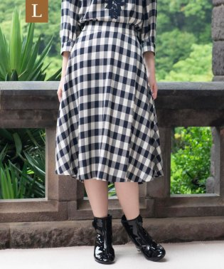 【L】【ウォッシャブル】ブライトツイルチェックフレアスカート