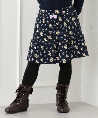 【80~130cm】スムースプリント 裏起毛スパッツ付きスカート