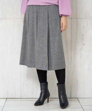 【洗える】ウールヘリンボーンツイードプリーツスカート