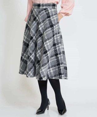 【洗える】ノットチェックフレアスカート